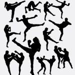 Постер, плакат: Muay Thai kick boxing fighter silhouettes