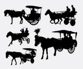 Carriage traditionellen Transport mit Pferd Silhouetten