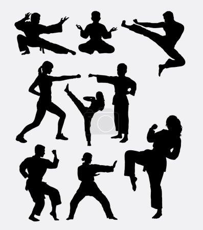 Illustration pour Formation en art martial. Homme, femme et enfant. Bon usage pour le symbole, logo, icône web, mascotte, éléments de jeu, ou tout design que vous voulez. Facile à utiliser, modifier ou changer de couleur . - image libre de droit