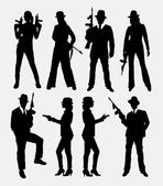Gangster people male and female with gun silhouette
