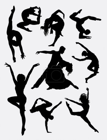 Illustration pour Danse contemporaine, silhouette d'action homme et femme. Bon usage pour le symbole, logo, icône, mascotte, ou tout design que vous voulez. Facile à utiliser . - image libre de droit