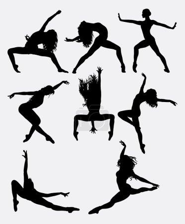 Illustration pour Belle pose de danseuse exécutant la silhouette. Danse masculine et féminine. Bon usage pour le symbole, logo, icône web, mascotte, éléments de jeu, mascotte, signe, conception d'autocollant, ou tout autre design que vous voulez. Facile à utiliser . - image libre de droit