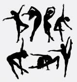 Beautiful dancer pose performing silhouette
