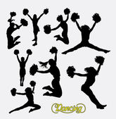Cheerleader sport girl jumping silhouette