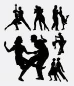 Tango salsa couple 1 dancer silhouette