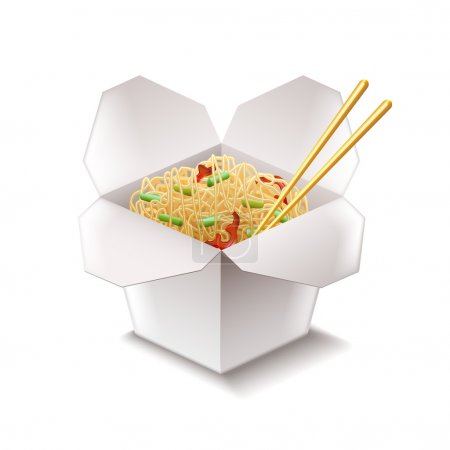 Illustration for Chinese noodles isolated on white photo-realistic vector illustration - Royalty Free Image