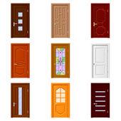 Room doors icons vector set