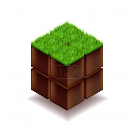 Isometric cube from earth and grass