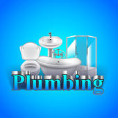 Word plumbing and objects on blue background