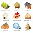 Houses of different nations icons photo-realistic ...
