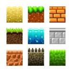 Textures for platformers pixel art photo-realistic vector set