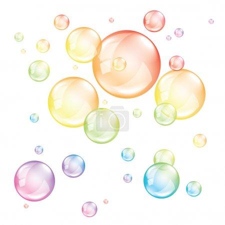 Illustration pour Bulles colorées isolées sur illustration vectorielle photo-réaliste blanche - image libre de droit