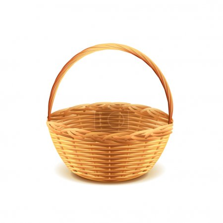 Wicker basket isolated on white photo-realistic ve...