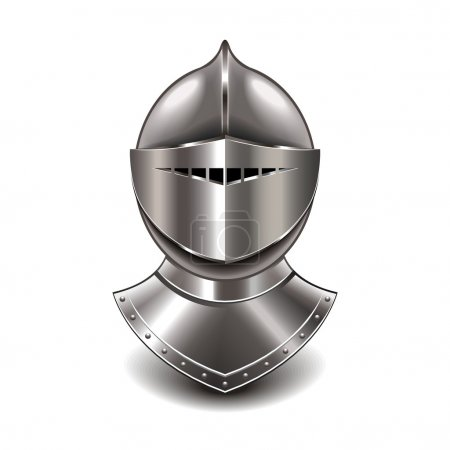 Medieval knight helmet isolated on white photo-rea...