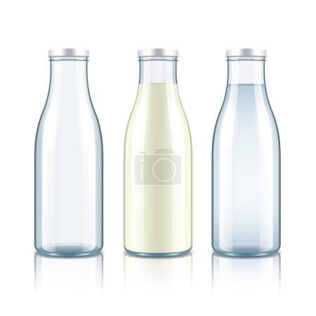 Illustration pour Bouteille en verre avec lait, eau et vide isolé sur illustration vectorielle photo-réaliste blanche - image libre de droit