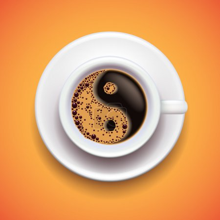 Yin-yang coffe cup, relax concept photo realistic ...