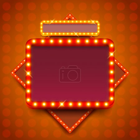 Illustration for Retro poster with neon lights square board vector background - Royalty Free Image