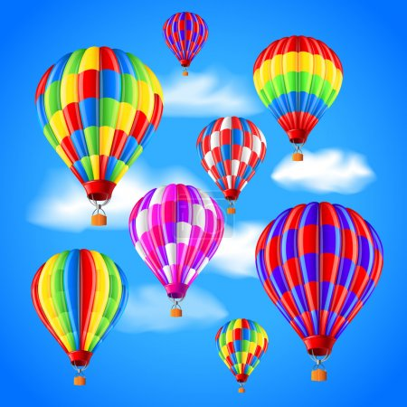 Illustration for Hot air balloons in the sky photo realistic vector background - Royalty Free Image