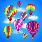 Hot air balloons in the sky vector background