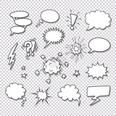 Illustration for Different speech bubbles and elements for comics vector set - Royalty Free Image