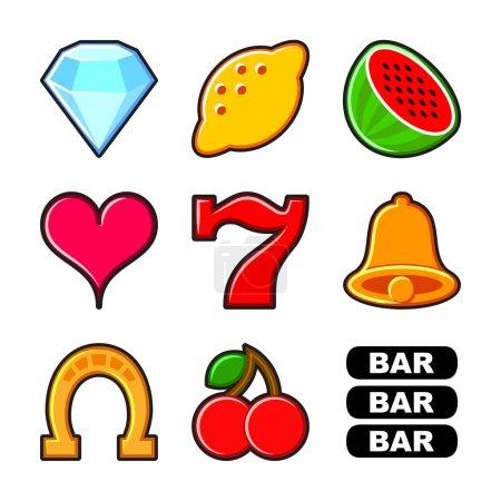 Illustration pour Machine à sous des icônes plates et des symboles ensemble vectoriel - image libre de droit