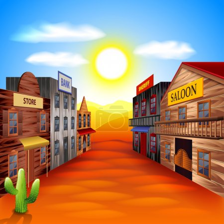 Illustration for Wild west town photo realistic vector background - Royalty Free Image