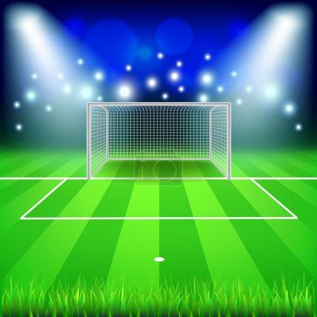 Soccer goal on field vector background