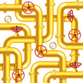 Tangled yellow metal pipes background vector