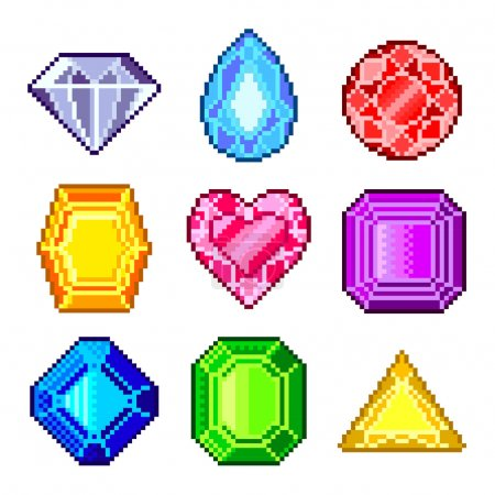 Pixel gems for games icons vector set