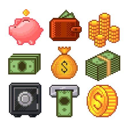 Pixel Geld Icons Vektor gesetzt