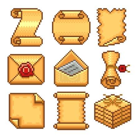 Pixel paper scrolls icons vector set