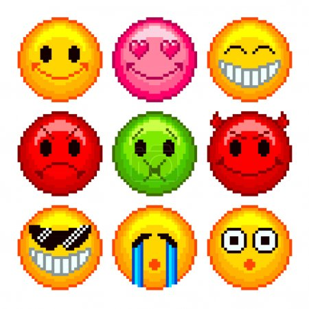 Illustration for Pixel smileys for games icons high detailed vector set - Royalty Free Image