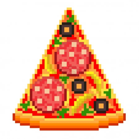 Pixel pizza slice isolated vector