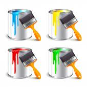 Paint can isolated on white vector