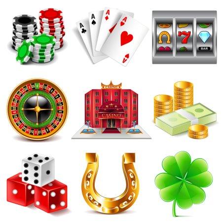 Illustration pour Casino et jeux d'icônes photo détaillée vectoriel réaliste ensemble - image libre de droit