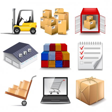 Illustration for Logistics part two icons photo realistic vector set - Royalty Free Image