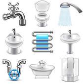 Plumbing icons vector set