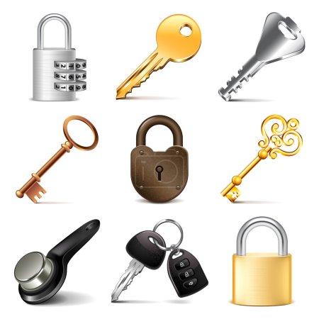 Keys and locks icons vector