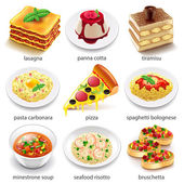 Italian food icons detailed photo realistic vector set