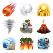 Natural disasters icons vector set