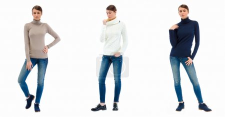 Three photos of a young casual fashion beautiful girl