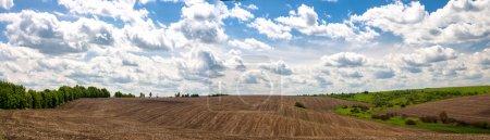 Foto de Hermosa vista de campos baldíos y hermoso cielo nublado - Imagen libre de derechos