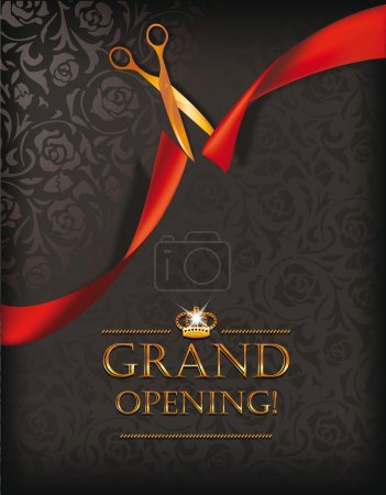 Grand opening invitation card with scissors and re...