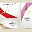 Set of big opening invitation cards with ribbons a...