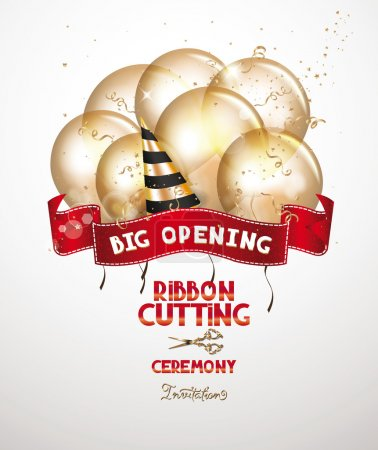 Illustration for Ribbon cutting ceremony invitation card with gold air balloons and red ribbon - Royalty Free Image