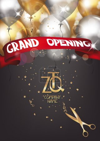 Grand opening card with scissors, air ballons and ...