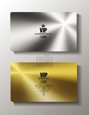 Illustration for Vip cards with metal texture - Royalty Free Image