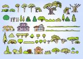Landscape elements vector setHand drawn isolated sketchy trees