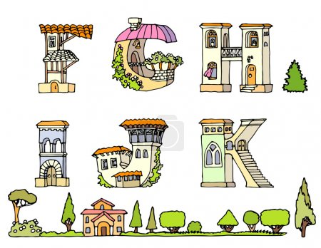 Vector Hand Drawn Fonts.Hand drawn font,letters in houses shape.Set of ABCD uppercase alphabet letters.