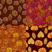 Set of Hand Drawn seamless floral patternsStylized Decorative l